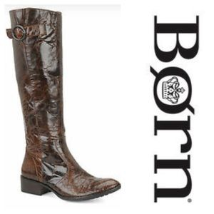 Born Roxie Crinkle Leather Knee High Riding Boots